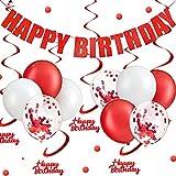 17-teiliges Partyzubehör zum Aufhängen, rot, Banner, Happy Birthday, Wirbel, zum Aufhängen, rote...