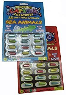 amazing capsule creatures grow in water soft animal magic capsules, 24 different creatures (Multi color) - pack of 2