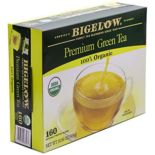 Bigelow Premium Organic Green Tea, 160 Count Box, Individually Wrapped Bags