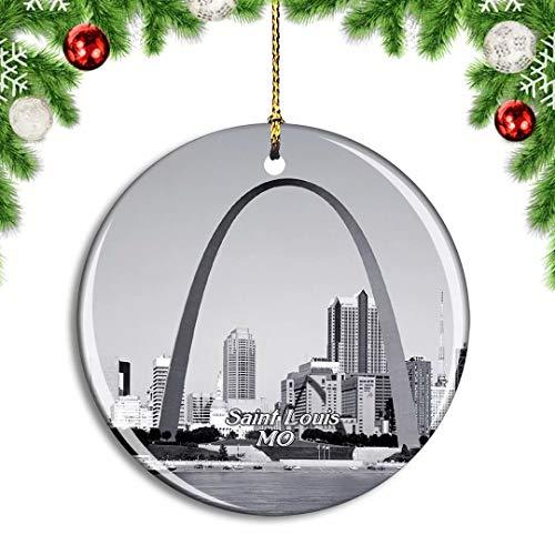 Weekino USA America Saint Louis Gateway Arch Christmas Xmas Tree Ornament Decoration Hanging Pendant Decor City Travel Souvenir Collection Double Sided Porcelain 2.85 Inch