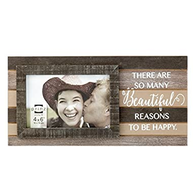 Prinz Kendall 'There are Many Beautiful Reasons to Be Happy' Plank Wood Frame, 6 x 4