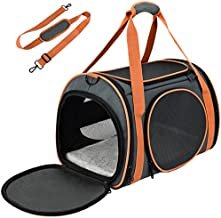 OKMEE Cat Carrier TSA Airline Approved with Ventilation for Small Medium Cats Dogs Puppies, Dog Carrier with Big Space, 5 Mesh Windows, 4 Open Doors for Comfortable Travelling.