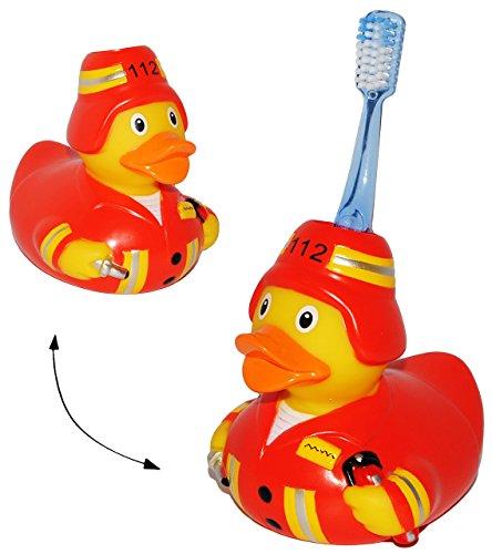 Zahnbürstenhalter -  Feuerwehr Ente  - für die Zahnbürste - Enten / Feuerwehrmann - zum Zähneputzen - Halter zum Stellen / Halterung - Badezimmer Bad - auch..