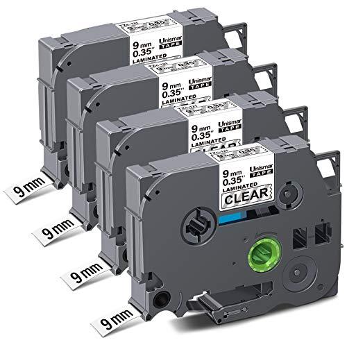 "Unismar Compatible Label Tape Replacement for Brother P-Touch TZe-121 TZe121 TZ121 for PT-D200 PT-D210 PT-D600 PT-D400 PT-H100 PT-H110 PT-1280 PT-1290 Label Maker, 3/8"" x 26.2', Black on Clear, 4-Pack"