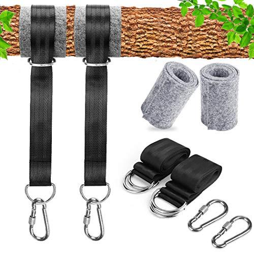 GothicBride - Correas para hamaca al aire libre, kit de 150 cm de largo para colgar en árbol, incluye 2 ganchos de mosquetón con bloqueo de seguridad y alta resistencia para acampada, mochiler