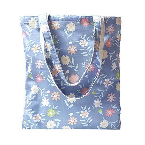 Tobeso Bolsos totes para mujer Bolso de compras reutilizable Bolsos de algodón Bolsas de supermercado ecológicas para mujeres (Azul-flor)