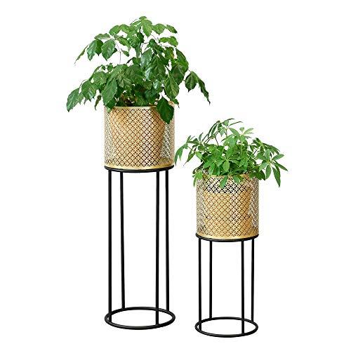 [en.casa] Pflanzständer im 2er Set Blumenständer aus Metall Blumentopf Ständer mit Übertopf Blumentopfhalter 2-TLG. Pflanztopf Deko Schwarz-Goldfarben Rund 4 Streben