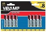 Velamp LR6/8BP Blister de 8 pilas alcalinas Stilo LR6 AA, 1,5 V, rojo