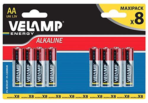 Velamp LR6/8BP Blister di 8 Pile Alcaline Stilo LR6 AA, 1.5V, Rosso