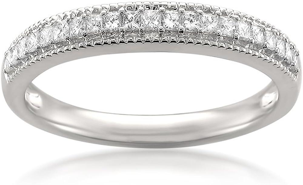 1/3 Carat Diamond, Pavé-Set 14kt White Gold Princess-cut Diamond Migraine Vintage Bridal Wedding Band Ring (H-I, SI2-I1) by La4ve Diamonds