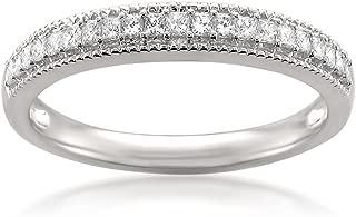 La4ve Diamonds 14k White Gold Princess-Cut Diamond Milgrain Vintage Bridal Wedding Band Ring (1/3 cttw, H-I, SI2-I1)