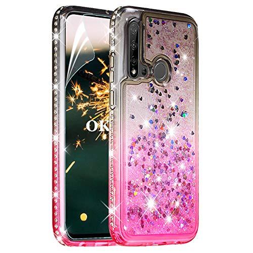 OKZone Cover per Huawei P20 Lite 2019   Nova 5i, [Serie di Sabbie Mobili] Moda Brillantini Bling Liquido Sparkly Glitter Diamante Fluttuante Quicksand Protettivo Slim Custodia (Nero Rosa)