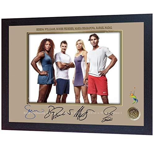 SGH SERVICES Gerahmtes Poster Roger Federer Rafael Nadal Serena Williams Maria Sharapova signiertes Foto gerahmtes Autogramm Tennis Foto Vordruck Poster gerahmt MDF-Rahmen