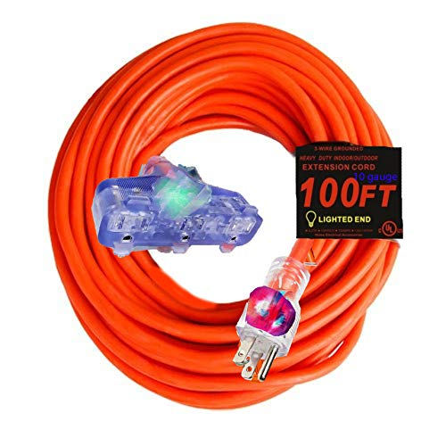 100 ft 10 Gauge Heavy Duty Indoor Outdoor Triple Outlet Extension Cord 10/3 100 ft 125 volt, 1875 watt, 5-15P/R, UL Listed 100 ft 10 gauge extension cord 3 prong 100 ft triple tap extension cords 10/3