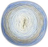 theofeel Woolly Hugs Bobbel Cotton Farbe 49 Jeans beige hellblau Creme Farbverlaufsgarn 4-fädig mit Anleitung für 1 Häkeltuch