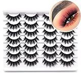 Losha Eyelashes 14 Pairs Eye Lashes Pack Fluffy Volume Faux Mink Lashes with Soft Band 18MM Long False Eyelashes for Women
