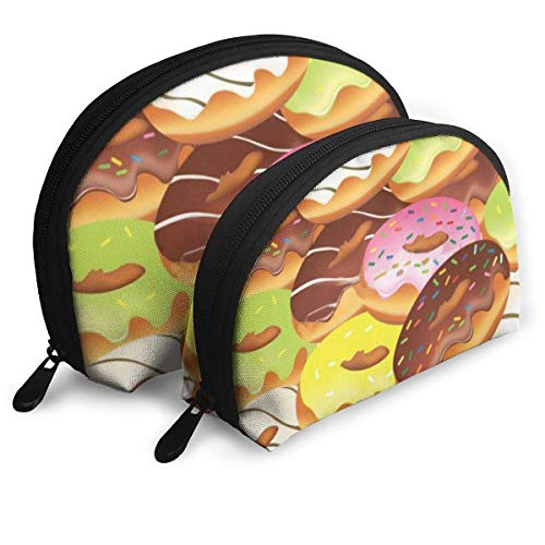 JUKIL Shell Shape Cosmetic Bag Donuts Seamless Pattern Vector Image Bolsas portátiles Bolsa de Embrague Bolsa de Almacenamiento Bolso de Mujer Organizador con Cremallera 2pcs