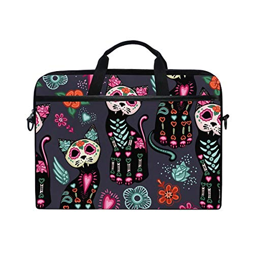 WXLIFE Mexican Sugar Skull Cat 13 13.3 14 Inch Laptop Shoulder Messenger Bag Case Sleeve Briefcase with Handle Strap for Men Women Boys Girls