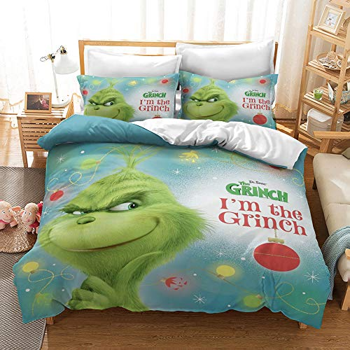 N/Y 3 Pieces Grinch Duvet Cover Set Queen Size for Kids 3D Cartoon Grinch Printed Bedding Set with Zipper Closure, Best Chirstmas Gifts for Boys Girls Teens Adults, No Comforter Inside