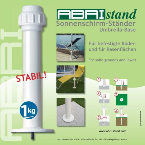 ABRIstand ERDE und RASENBEFESTIGUNG - STABIELO - ABRI -Sonnen-Schirmhalter S-RASEN für 25-42 mm Stockdurchmesser - INNOVATIONEN MADE in GERMANY - HOLLY PRODUKTE STABIELO ® - holly-sunshade ®