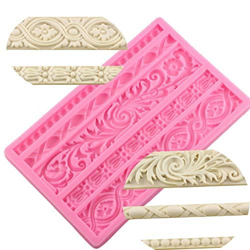 Abilieauty DIY Barock Erleichterung Bordüre Kuchenform Silikon Kuchen Dekoration Fondant Werkzeugen Schokoladen Bonbons Gussform