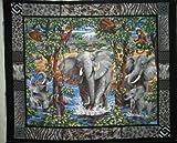 Elephant School Wall Hanging by General Fabrics - 100% Cotton, Panel