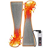 QILOVE Heated Electric Socks for Men Women,3.7V Rechargeable Battery Heat Insulated Sock,Speedy Hot Thicker Cotton Sox feet Warmers,Unisex & USA 6-13 Size