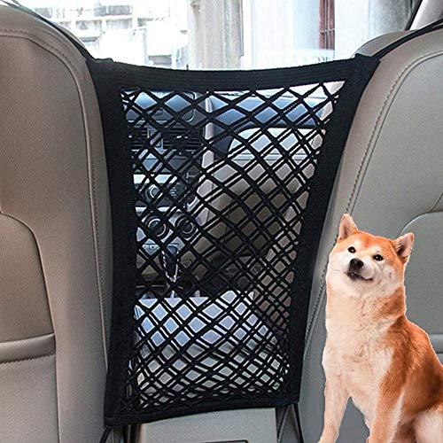 FLOX Auto-Hundeabsperrung, Haustier-Barriere für Hunde, Auto-Netz-Barriere für Rücksitz, universell, dehnbarer Autositz-Aufbewahrungsnetz.