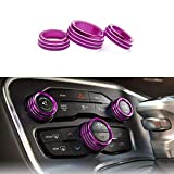 Keptrim Radio AC Knobs Air Conditioner Switch Button for 2015-2020 Dodge Challenger Charger Chrysler 300 300s, for 2012-2017 Ram, Purple Aluminum, 3pcs