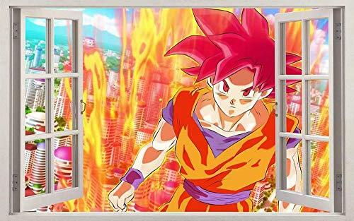 Wandtattoos Wandaufkleber Goku Anime 3D Fenster Aufkleber Wandaufkleber dekorative Kunst Wandbild
