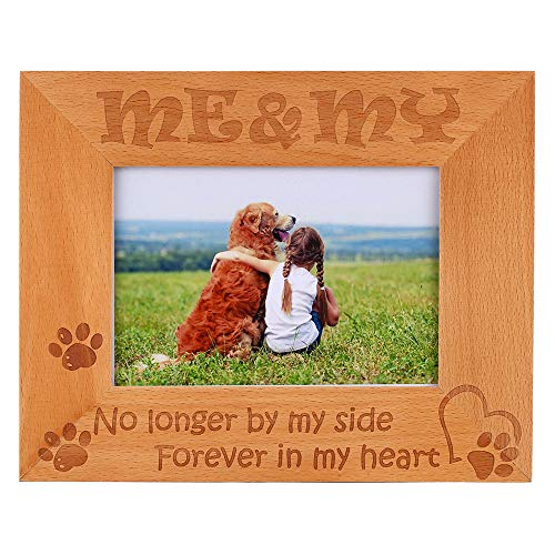 No Longer by My Side, Forever in My Heart- Natural Wood Engraved Picture Frame, Doggie Paw Prints in Memorial Gifts for Dogs That Passed, Pet Sympathy Memory Gift 4x6 Horizontal (4x6-Horizontal)