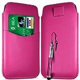 N4U Online Hot Pink Card Slot Premium PU Leather Pull Flip