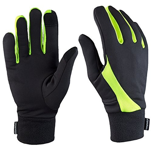 TrailHeads Running Gloves | Lightweight Gloves with Touchscreen Fingers - Black/hi-vis (Small)