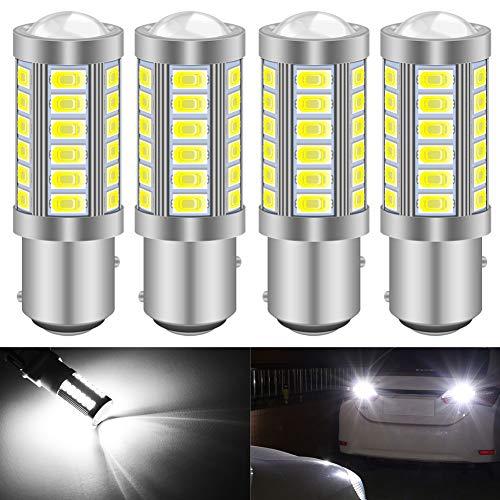 KATUR 4pcs 1157 BAY15D 5630 33-SMD Blanc 900 Lumens 8000K Super Bright LED Tourner Le Frein d'arrêt Signal Signal Lampe Ampoule 12V 3.6W