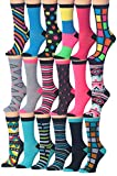 Tipi Toe Women's 18-Pairs Value Pack Colorful Crazy Funky Fashion Crew Socks, (sock size 9-11) Fits shoe size 5-9, WC61-18