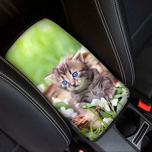 Baby Cat with Blue Eye Cute Animal Dog Cat Pig impresso Auto Center Console Pad, Neoprene para o braço do carro, capa protetora universal
