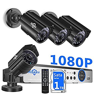 ?H.265+? Hiseeu Security Camera System Wired,4Pcs 1080P AHD Cameras+Expandable 8CH DVR,Phone&PC Remote Viewing,Motion Alert,Night Vision,IP66 Waterproof,24/7 Record,Easy Setup,1TB Hard Drive