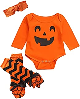 FAYALEQ Baby Girls Clothes Newborn Baby Pumpkin Outfits with Headband and Leg Warmer 3pcs Set