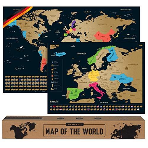 Weltkarte zum Rubbeln I Mit Europakarte I Scratch off Map I Gold I 68 CM x 43 CM I Deutsch I Landkarte zum Rubbeln I Weltkarte zum Freirubbeln I Rubbelweltkarte I Weltkarte zum Freikratzen