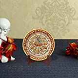 Handicrafts Paradise Peacock with Feathers Spread Pattern Round Shape Marble Showpiece Plate with Stand (15.3 cm x 1.2 cm x 15.3 cm)