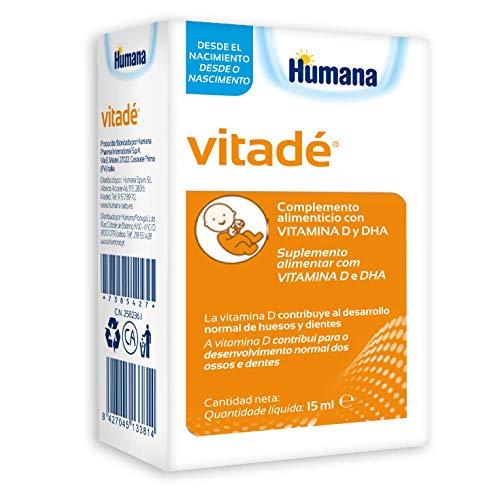 Humana Vitadé a base de vitamina D, DHA, fortalece el sistema inmune y contribuye al desarrollo de los huesos. Complemento Alimenticio con ingredientes naturales-15ml