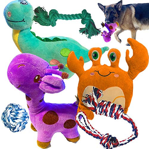 Jalousie Dog Plush Toy and Rope Toy Combos Dog Squeaky Toys for Small Medium Dog Puppy Mutt (Combo A)