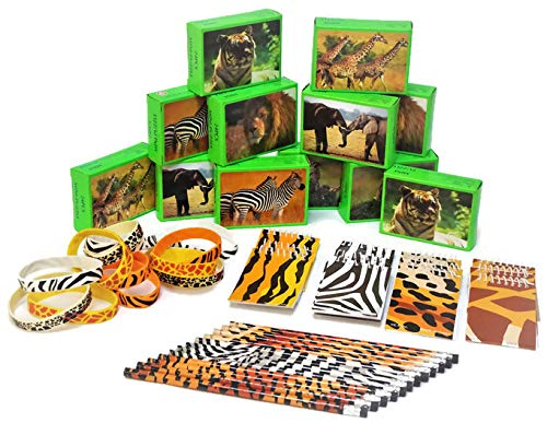 Terra Children Animal Safari Party Favors 12 Puzzles, 12 Pencils, 12 Notebooks, 12 Bracelets