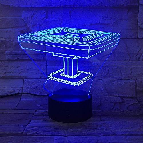 Lámpara de ilusión 3D Luz de noche LED Cultura china Lámpara de mesa Mahjong Funciona con pilas Cambio de color con control remoto para la decoración de la habitación