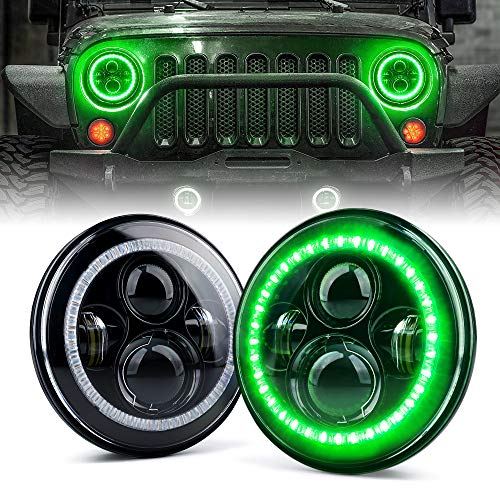 Xprite 7 Inch 90W LED Headlights With Green Halo for 1997 - 2018 Jeep Wrangler JK TJ LJ (DOT Approved), CREE LED Chip, 9600 Lumens Hi/Lo Beam with Halo Ring Angel Eyes