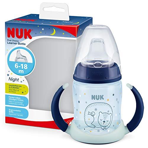 NUK First Choice+ Trinklernflasche Learner Cup Night | 6–18Monate | 150 ml | Anti-Colic-Ventil | auslaufsichere Trinkschnabel | mit Leuchteffekt | Ergonomische Griffe | BPA-frei | Blau
