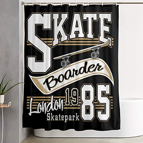 KGSPK Duschvorhang,London Skate Board Typografie Grafiken,wasserdichter Badvorhang mit 12 Haken Duschvorhangringen 180x180cm