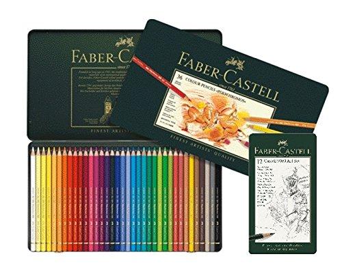 Lápices de color Faber-Castell 110012,policromo, 36 unidades en estuche de metal, 36er Metalletui + 12er Castell 9000, 1