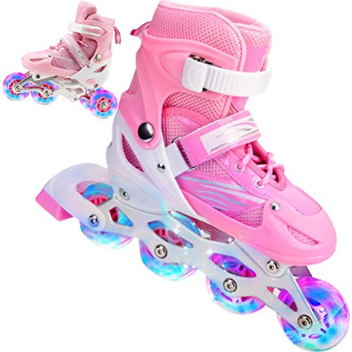 Inline Skates Childrens Adjustable Size Roller Skates with Luminous Wheels Triple Protection Lightweight Beginners Roller Skates for Girls / Boys