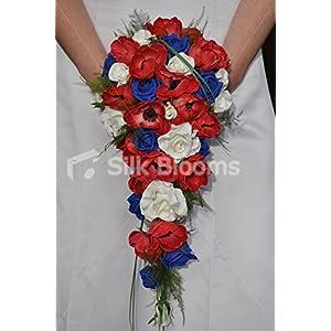 Silk Blooms Ltd Red, White & Blue Fresh Touch Anemones & Roses Cascade Bridal Wedding Bouquet